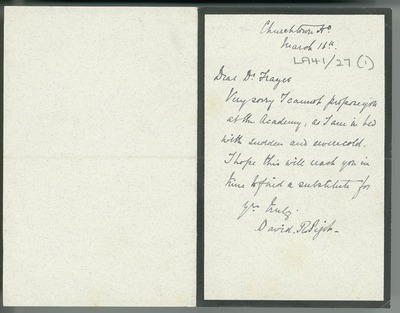 [Letter from David R. Pigot (Churchtown House, Dublin) to William Frazer (20 Harcourt Street, Dublin), regretting that he cannot propose Frazer at the [Royal Irish] Academy.]