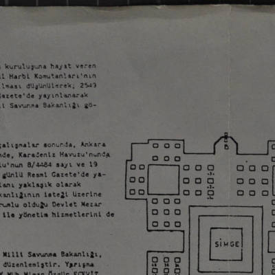 Devlet Mezarlığı'nın ölçeksiz planı ve diğer yerleşim yerleri