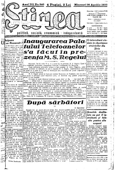 Știrea, Anul III, Nr. 340