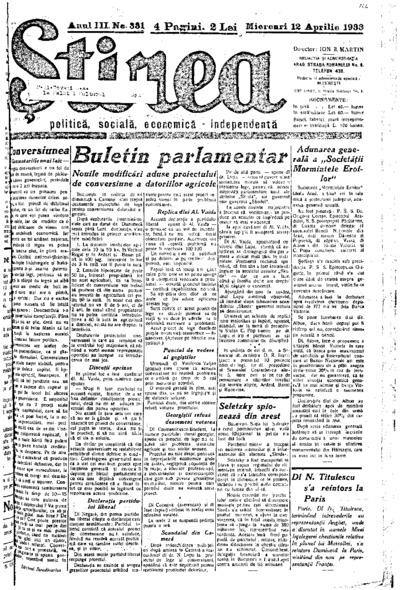 Știrea, Anul III, Nr. 331
