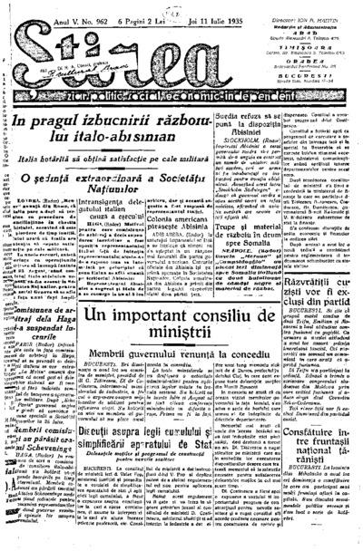Știrea, Anul V, Nr. 962