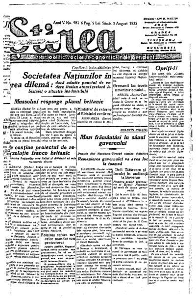 Știrea, Anul V, Nr. 981