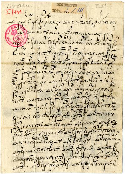 Scrisoarea lui Stefan Rujniţă şi a lui Gligorcea din Săcuieni...