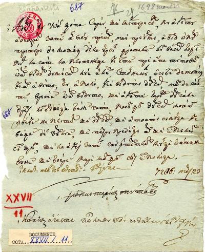 Ioan Topa, având o cumpărătură de moşie de la Ursul, fratele lui Vasile Boţescu la satul Clăpăneşti pe apa Tutovei, o vinde...