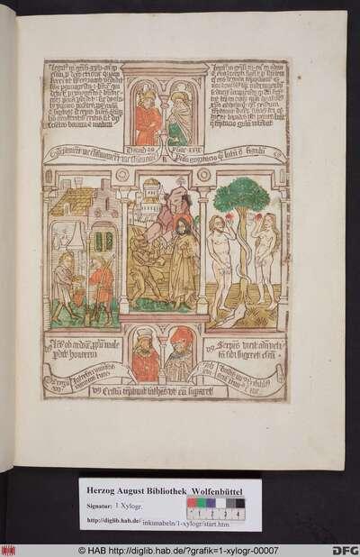 Drei biblische Szenen umgeben von vier Propheten. Links Esau verkauft sein Erstgeburtsrecht, mittig die Versuchung Christi in der Wüste, rechts Adam und Eva essen im Paradies die verbotene Frucht vom Baum der Erkenntnis.