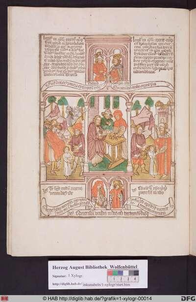 Drei biblische Szenen umgeben von vier Propheten. Links Josefs Brüder verkaufen ihn an die Ismaeliten, mittig Judas Ischariot erhält seinen Lohn für den Verrat an Christi, rechts die Ismaeliten verkaufen Josef an Potiphar.