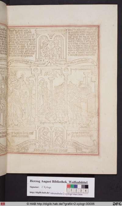 Drei biblische Szenen umgeben von vier Propheten. Mittig: Die Heilige Familie in Ägypten mit dem Sturz der Götzen. Links: Das Goldene Kalb. Rechts: Die Bundeslade im Tempel Dagons.