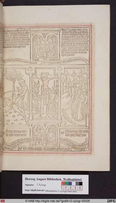 Drei biblische Szenen umgeben von vier Propheten. Mittig: Öffnung der Seite Christi durch die Lanze des Longinus. Links: Erschaffung Evas. Rechts: Moses schlägt Wasser aus dem Fels.