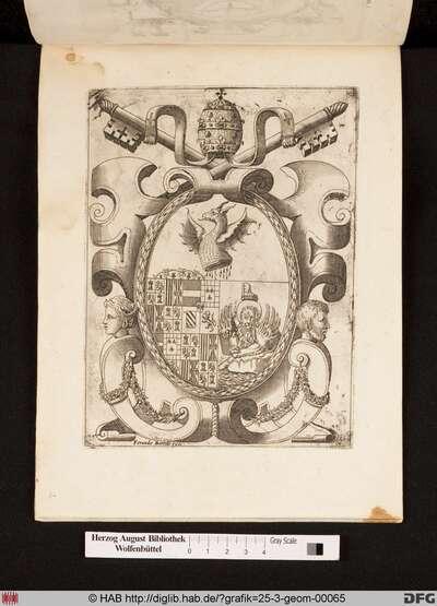 Symbolische Kombinationswappen zusammengesetzt von Vatikan, Doge von Venedig und spanischen Habsburg Wappen, mit geschlachteter Serpent als Symbol der besiegte osmanischen Armee in bezug auf der Seeschlacht von Lepanto.