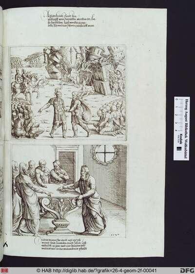 Judas nimmt das Geld für seinen Verrat an Christus in Empfang.