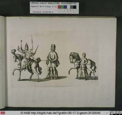 Die mehrgesichtige Concordia zu Pferd, dahinter Discordia in Gestalt eines mehrgesichtigen Mannes mit mehreren Beinen und Armen gefolgt von der Friedenshoffnung in Gestalt einer jungen Frau mit Pferd.