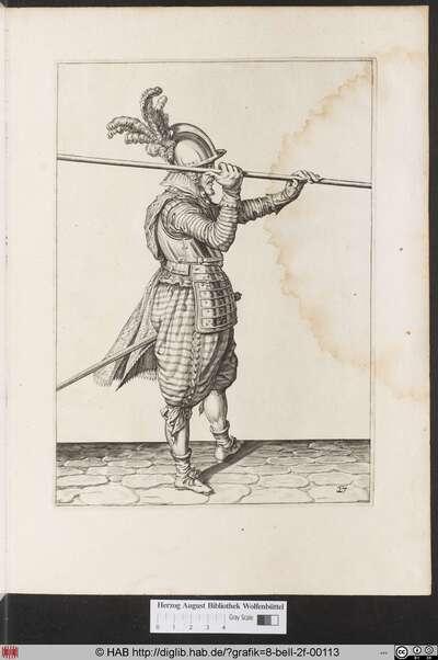 Zum 27. wie einer fur die erste herfassung wan er den Spies erstlich mit der rechten handt von der Schultern empor gehoben denselben zu gleich mit der lincken handt furwerts anfassen soll.