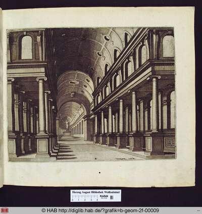 Blick in eine Kirche, Zentrum des Fluchtpunktes links, Säulen in ionischer Ordnung säumen den Gang, der mit einem Tonnengewölbe versehen ist. Im Chor befindet sich eine Statue auf einem Sockel.