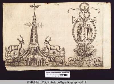 Der Heilige Geist über einem Kreuz, aus dessen Sockel die Flüsse Gion, Fison, Tigris und Eufrates entspringen, flankiert von Hirschen und Lämmern; Christus am Kreuz mit Maria und Johannes, umgeben von Kränzen und flankiert von zwei Hirschen.