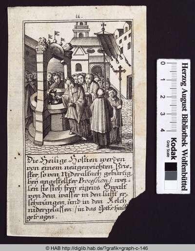 Die Heilige Hostien werden von einem neugeweichten Priester, so von Nideraltach gebürtig, bey angestellter Procession:  weilen sie sich frey eigens Gwalt von dem wasser in den Lufft erschwingen, und in den Kelch nidergelassen: in das Gottshaus getragen.