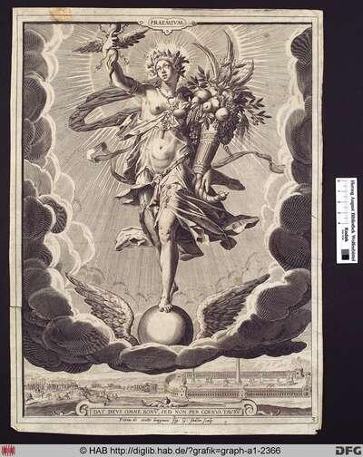 Praemium. - (Die Belohnung). Eine auf einer geflügelten Kugel stehende Figur.