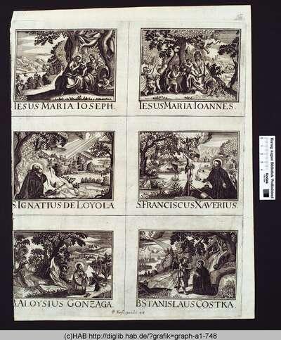 Sechs Heiligendarstellungen.
