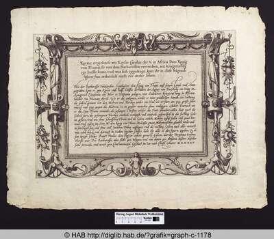 Kurtze erzeichnis wie Keyser Carolus der V. in Africa Dem Konig von Thunis, so von dem Barbarossen vertrieben, mit kriegsrustung zur hulffe komt, und was sich zugedragn, kont ihr in diese folgende figurn fein ordentlich nach ein ander sehen
