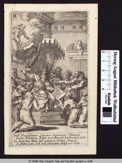 Daß Franciscaner sich mit Capuciner schlagen, macht Kleidung, Papst und Bartud des Francisci Lehr; Da diese den Ruin deß gantzen Ordens klagen, so stellen jene sich mit samt dem Pabst zur Wehr.