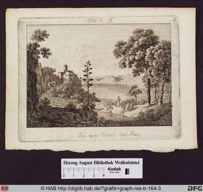 Blick über den See von Nemi bei Rom, links ein Haus mit Turm über dem See, im Vorderung eine Mutter mit Kind und Tanzende mit Lautenspieler.