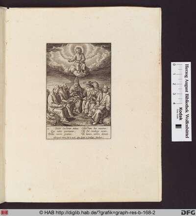 Christuskind auf einer Wolkenbank sitzend, darunter sitzend ein Papst, ein Bischof und drei Jesuitenpriester mit Büchern und Schreibzeug.