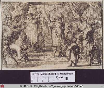 Der Kaiser von Abessinien leistet 1626 vor dem Patriarchen einen Eid auf das Christentum ab.