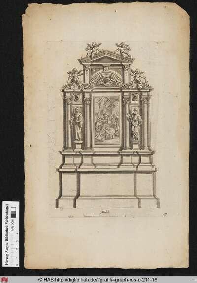 Entwurf für einen Altar nach der Architektur mit der Darstellung der Heiligen Familie im Stall, flankiert von der Heiligen Barbara und dem Heiligen Thomas; darüber verschiedene Putti mit Fanfaren und Kränzen.