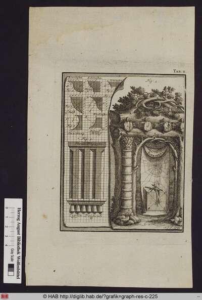 Verschiedene architektonische Berechnungen, daneben die Ansicht eines aus Baumstämmen gefertigten Torbogens, in dessen Eingang ein Tuch mit darauf abgebildetetn Messinstrumenten und der Aufschrift Introitus befestigt ist.