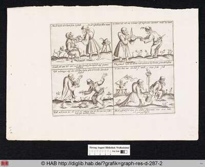 Pantalone schneidet den Bart seines Dieners; Pantalone musiziert, während Zanni die Saiten seines Instruments spannt; Der Kaufmann hält seinen Diener vom Suizid mit einem Dolch ab; Zanni erleichtert sich in einen Eimer, der von Pantalone gehalten wird.