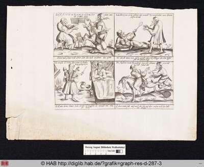Pantalone probt mit seinem Diener eine Serenade; Pantalone erbittet einen Löffel von Zannis Speise; Zanni vertraut Pantalone seine Kinder zum Wickeln an; Zanni verfolgt Pantalone, der auf einem Esel reitet.