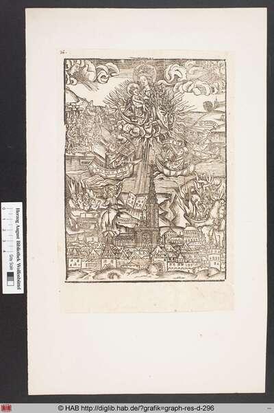 Mondsichelmadonna in den Wolken über dem Straßburger Münster thronend, der von Seligen und Höllenwesen flankiert wird, umgeben von einem flammenden Kranz, dessen Strahlen drei Heilige in ihren Booten berühren.
