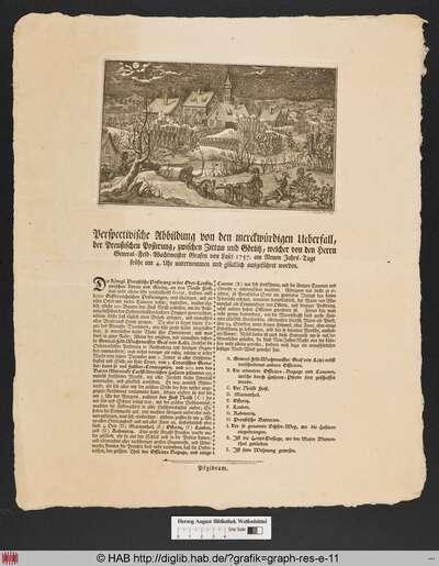 Perspectivische Abbildung von den merckwürdigen Ueberfall der Preußischen Postirung, zwischen Zittau und Goerlitz, welcher von den Herrn General-Feld-Wachtmeister Grafen von Lasei 1757. am Neuen Jahrs-Tage fruehe um 4. Uhr unternommen und gluecklich ausgeführet worden.