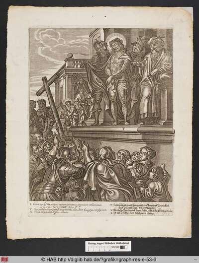 T. Jesus gieng herauss, trug eine dörnkron und Purpurkleid und Pilatus sagt: Sihe Mensch. V. Als ihn die Priester und diener sahen, rufften sie: Creutzige, Creutz. [.]ih: Tocher Sion, sehet euern König.