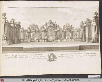 Bühnenbild für eine Tragödie der Jesuitenkolleg von Rennes.
