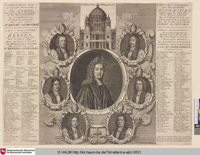 An ALPHABETICAL LIST of the right Honourable The LORDS, And also of those Members of the Honourable House of COMMONS in ENGLAND and WALES that were for Dr HENRY SACHEVERELL [Porträt des Henry Sacheverell umgeben von den Porträts von sechs Bischöfen, die ihn verteidigten, sowie einer Auflistung all seiner Befürworter in beiden Häusern des britischen Parlaments