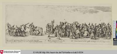 ENTRATA IN ROMA DELL' ECCELmo AMBASCIATORE DI POLLONIA L ANNO MDCXXXIII [Einzug des polnischen Gesandten in Rom, 1633; Entrée de l'ambassadeur de Pologne à Rome, en 1633; Triumphal entry, procession of the Polish ambassador and his retinue into the city of Rome], Bl. 4