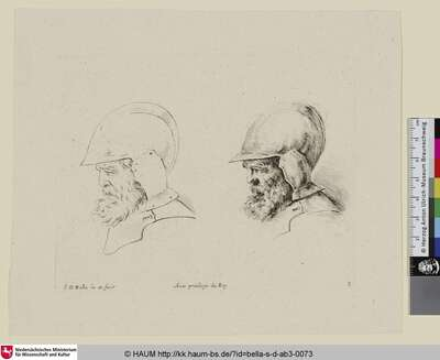 [Kopfstudie eines alten Soldaten mit Helm, ausgeführt und skizziert; ... tête d'un vieux soldat avec casque et barbe ... À gauche la même tête au trait; ... study of the head of a bearded soldier ... with the same head sketched to left]