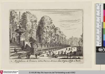 Prospettiva di Fontane detta Roma Antica alla Vigna d'Este a Tivoli [Ansicht des alten römischen Brunnens in der Villa d'Este in Tivoli]