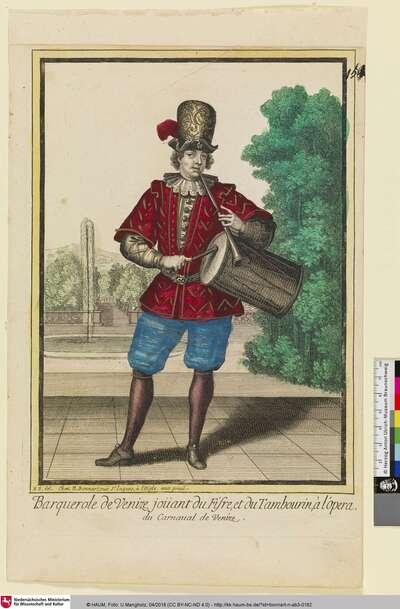 Barquerole de Venize, jouant du Fifre, et du Tambourin, à l'Opera