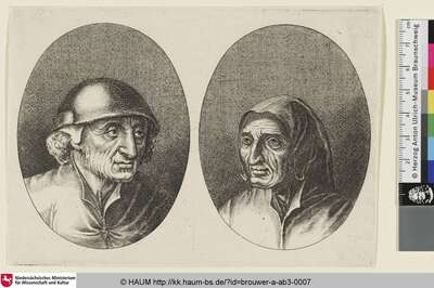 [Links: Bildnis eines alten Bauern mit Hut, nach rechts gewandt; rechts: Bildnis einer alten Bäuerin mit Haube, nach links gewandt; Heads of Peasants and Country-Women]