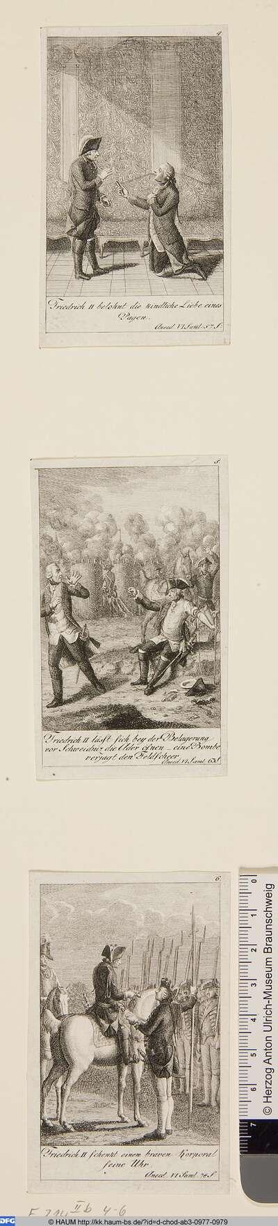 Oben: Friedrich II belohnt die kindliche Liebe eines Pagen