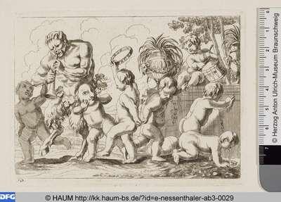 Sieben Kinder begleiten einen pfeifenden Satyrn