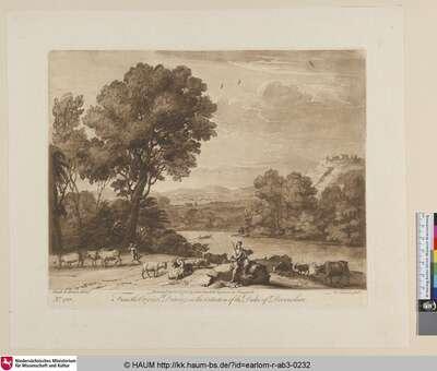 [Landschaft mit Mercur und Battus, im Mittelgrund eine Brücke.]