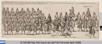 Drei Gruppen zu Fuß, berittener Zeremonienmeister und Trommler