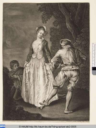 Tanzendes Paar und Flötenspieler