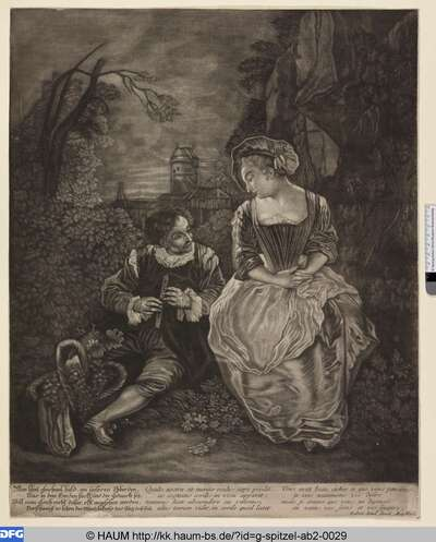 Flötespielender Mann mit Dame