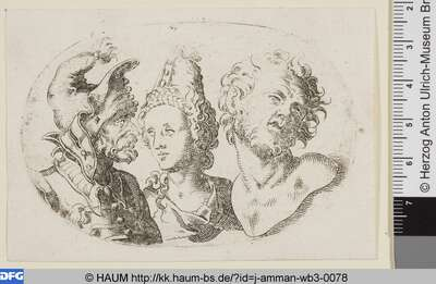 [Drei Männer- und Frauenbüsten im Oval: Links ein Krieger mit Zipfelmütze und Schnürenrock, in der Mitte eine junge Frau, rechts Laokoon; Busts of a Bearded Man in a Costume with a soft pointed Hat, a Woman and a Man Resembling Laocoon]
