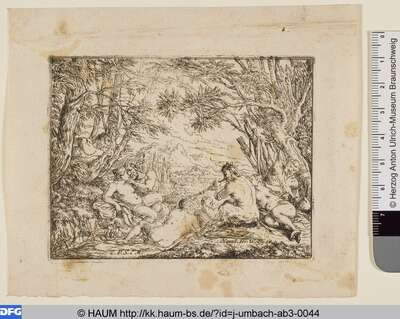 Gesellschaft von Satyrn und Nymphen auf Waldlichtung