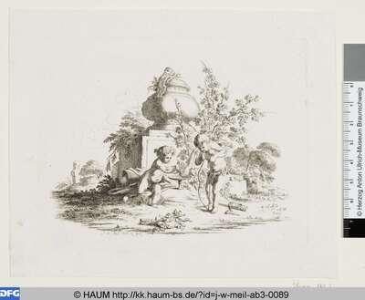 Amor und Bacchus vor einem Denkmal