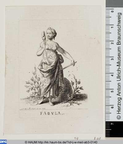 Muse der Fabel mit lachender Maske und Flöte
